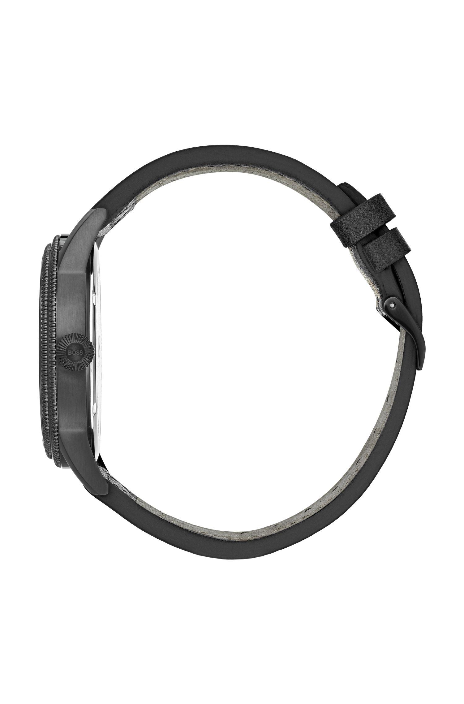 Orologio placcato nero con quadrante nero e cinturino in pelle italiana, Assorted-Pre-Pack