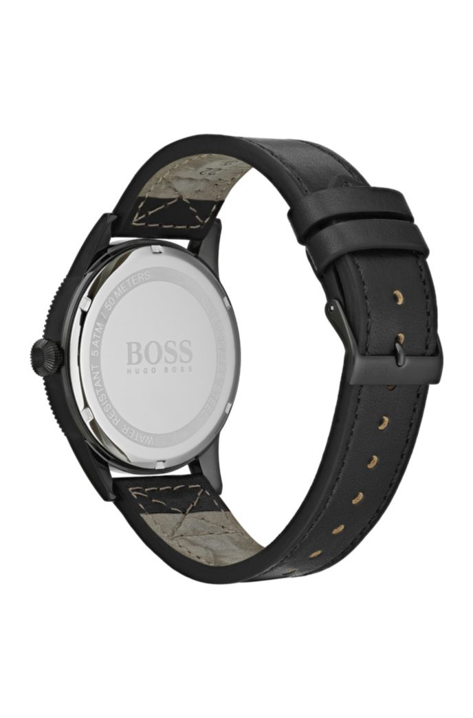 Black-plated watch with black dial and Italian-leather strap