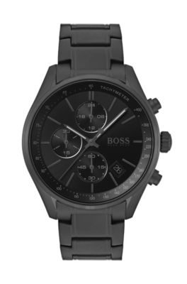 Black-plated chronograph watch with integrated tachymeter
