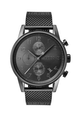 Uhr aus grau beschichtetem Edelstahl mit Mesh-Armband, Dunkelgrau