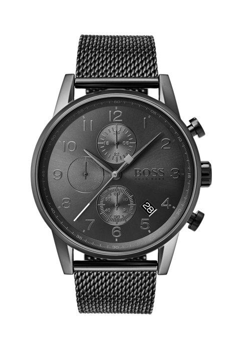 Mesh-strap watch in grey-plated stainless steel, Dark Grey