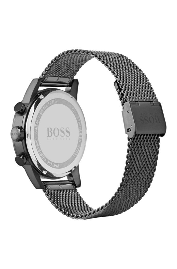 Uhr aus grau beschichtetem Edelstahl mit Mesh-Armband