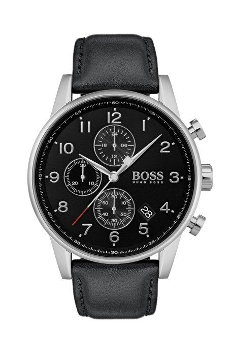 Montre en acier inoxydable à cadran noir et bracelet en cuir, Noir