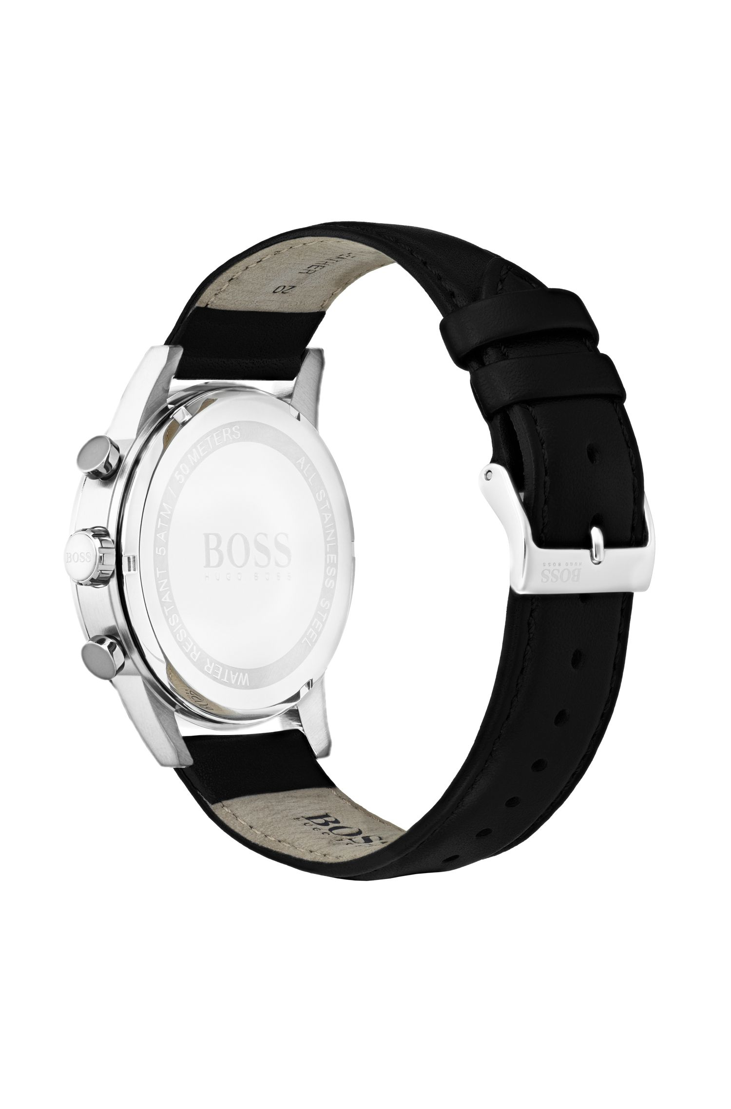 Stainless-steel watch with black face and leather strap, Black