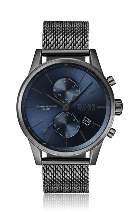 Blue-dial chronograph watch in grey-plated stainless steel, Dark Grey