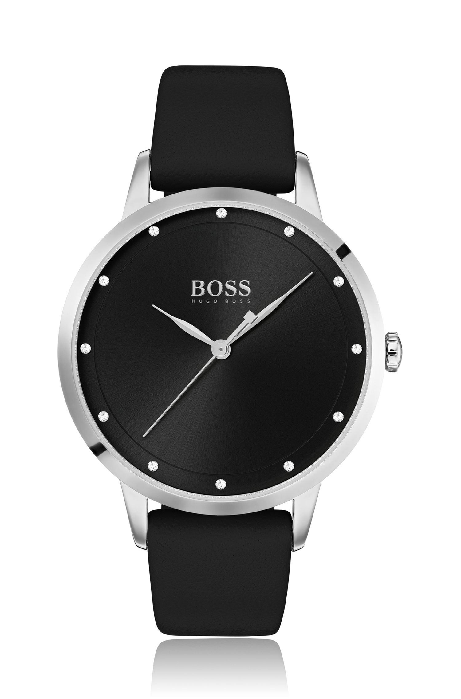 Leather-strap watch with embellished hour markers, Black