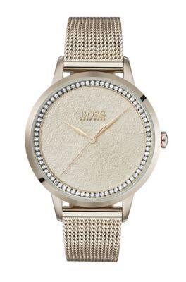 Horloge met een lichtgoudkleurige coating en een getextureerde wijzerplaat
