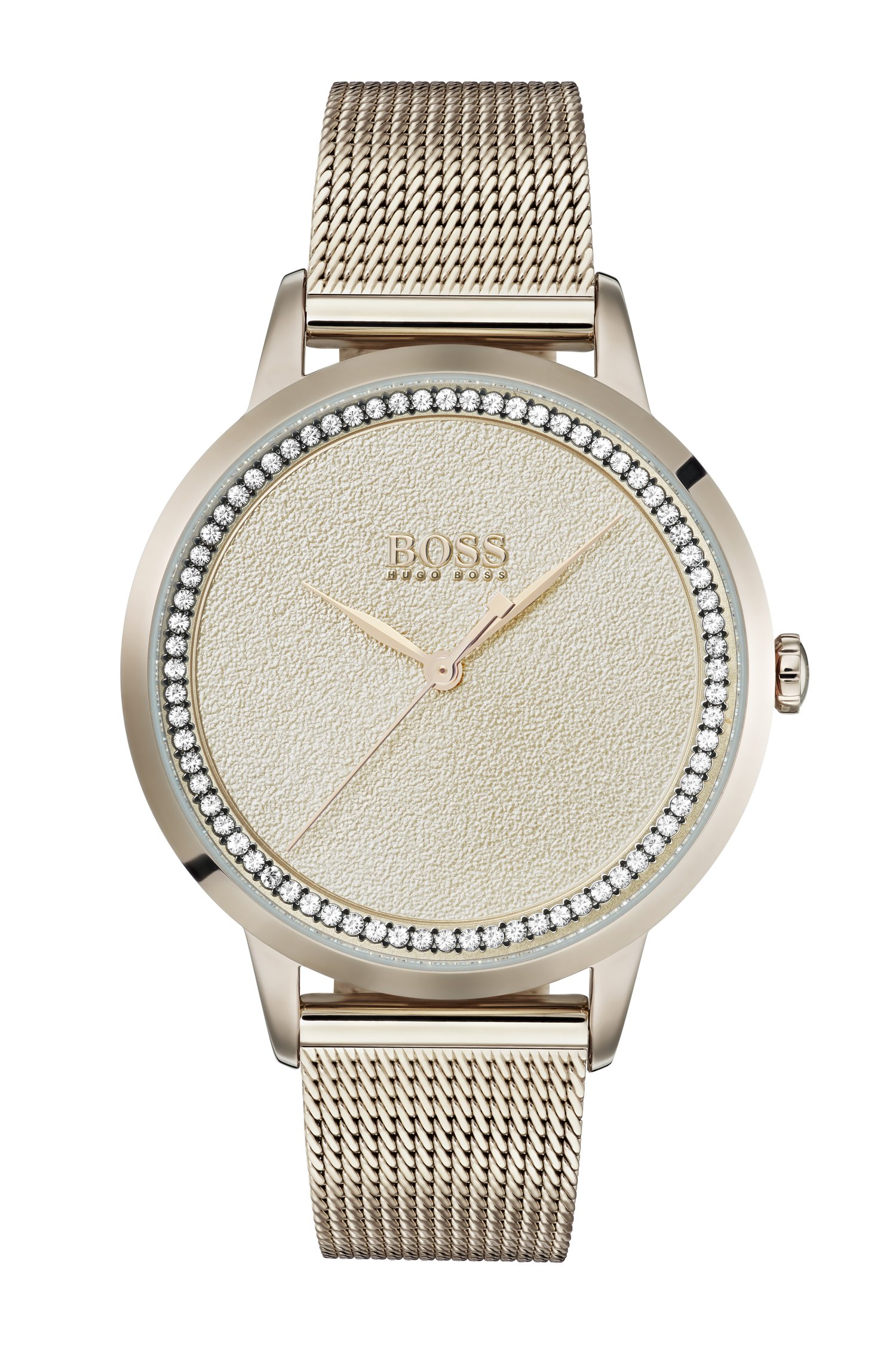 Carnation-gold-plated watch with textured dial, Gold