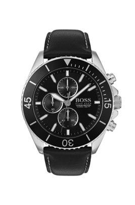 Montre chronographe en acier inoxydable avec lunette rotative noire, Noir