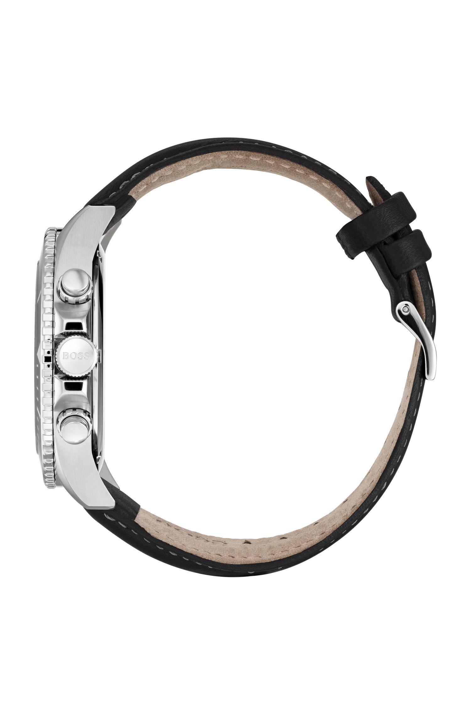 Chronograaf van roestvrij staal met zwarte roterende lunette, Zwart