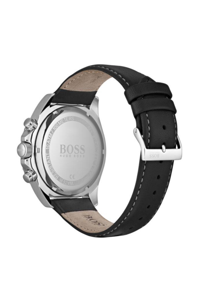 Montre chronographe en acier inoxydable avec lunette rotative noire
