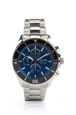 Reloj cronógrafo de acero inoxidable con esfera azul y bisel giratorio, Plata