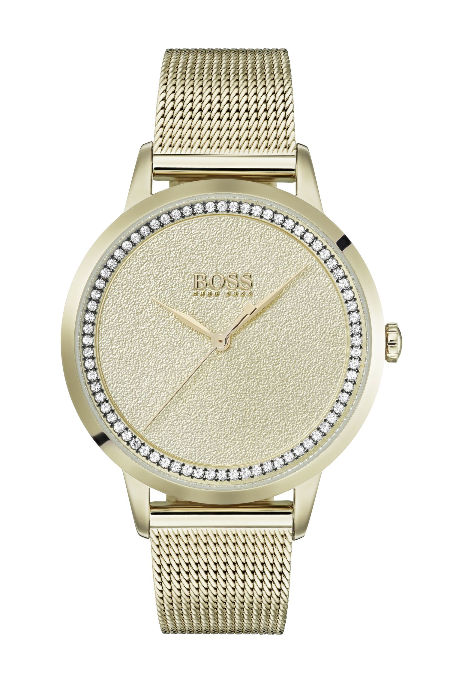 Yellow-gold-plated watch with textured dial and mesh bracelet, Gold