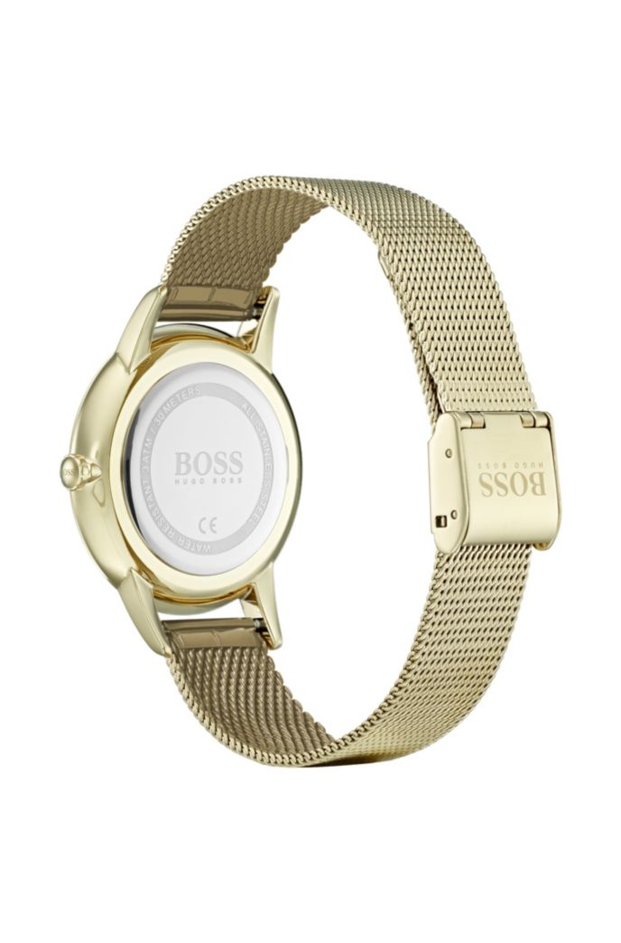 Yellow-gold-plated watch with textured dial and mesh bracelet