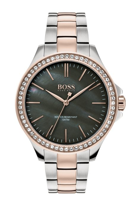 Two-tone watch with crystal-trimmed mother-of-pearl dial, Silver