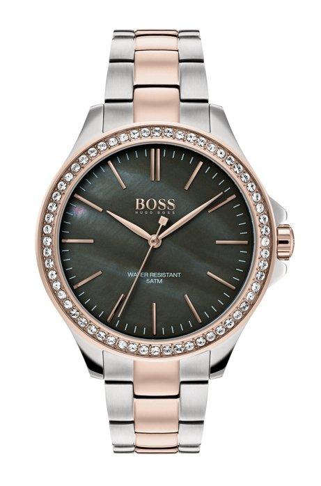 3840a1eced28 BOSS - Reloj a 2 tonos con esfera de nácar rodeada de cristales