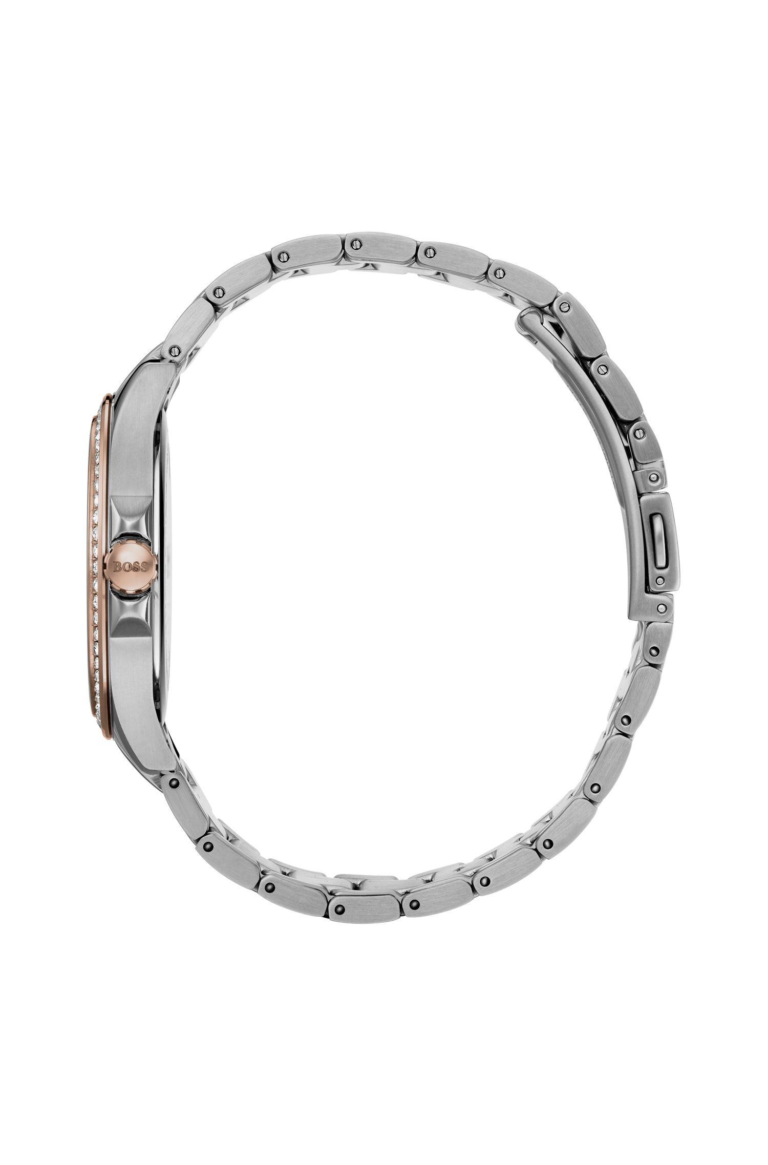 Orologio bicolore con quadrante in madreperla con finiture in cristallo, Argento