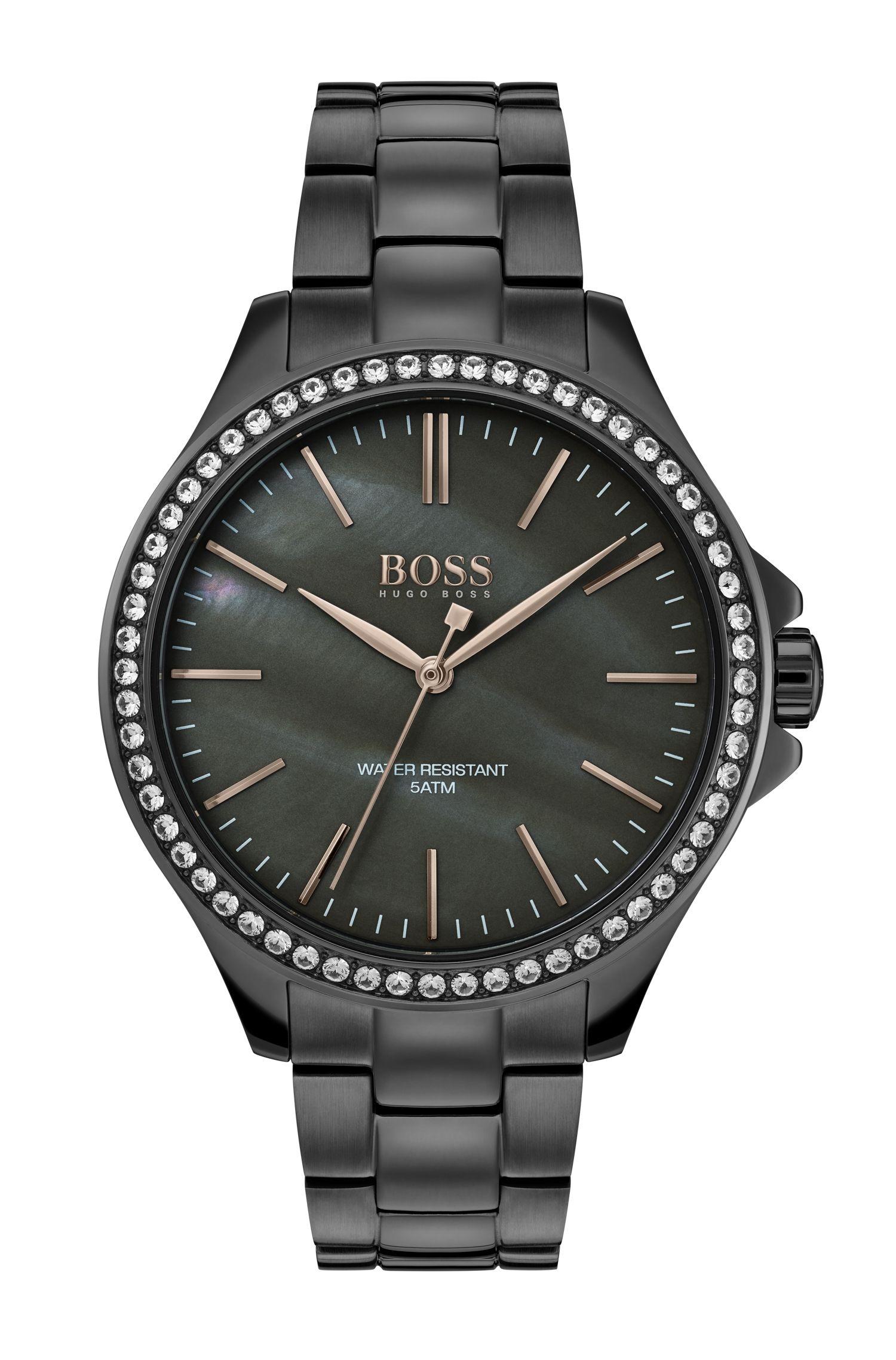 Reloj chapado en gris con esfera de nácar rodeada de cristales, Gris oscuro