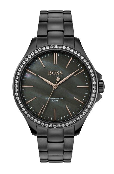 Grijsgecoat horloge met parelmoeren wijzerplaat en ingelegde kristallen, Donkergrijs