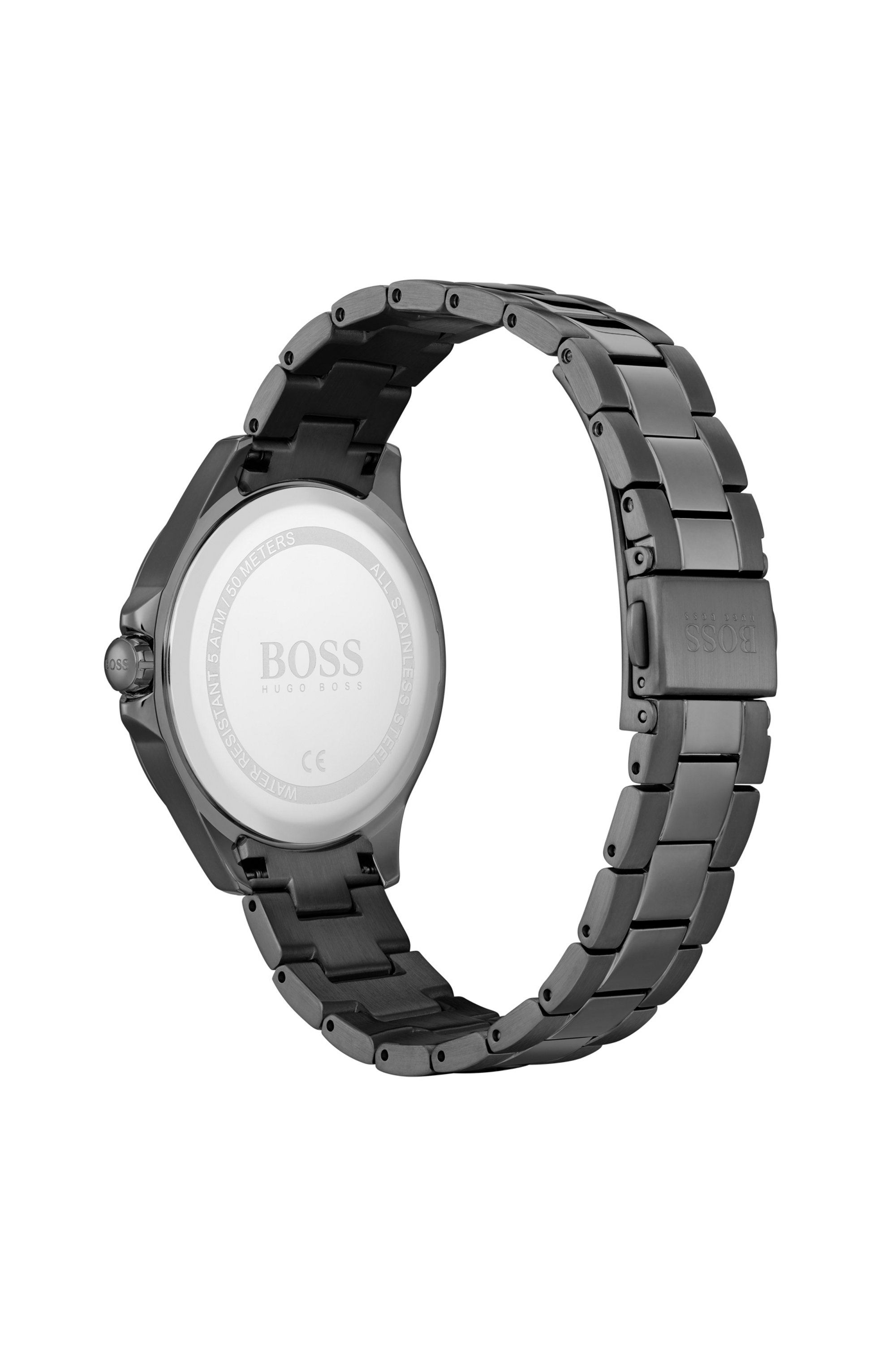 Grey-plated watch with crystal-trimmed mother-of-pearl dial