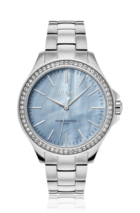 Stainless-steel watch with blue mother-of-pearl dial, Silver
