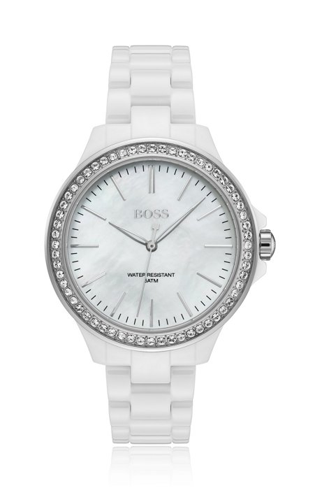 White ceramic crystal-trimmed watch with mother-of-pearl dial, White