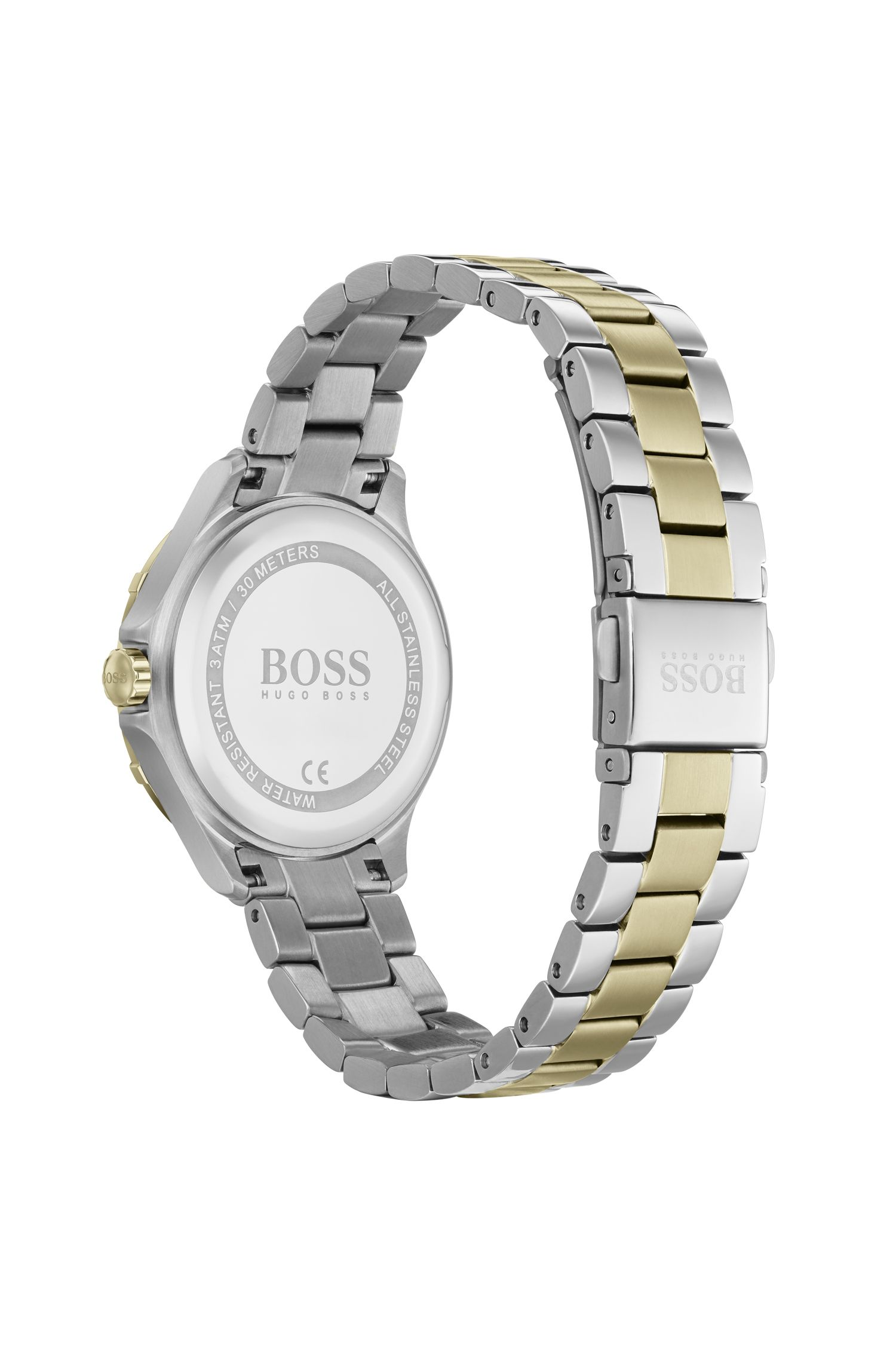 Two-tone watch with crystal-trimmed bezel and link bracelet, Silver
