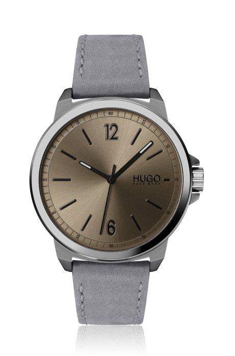 Horloge met nubuck polsband en geborstelde, koffiekleurige wijzerplaat, Grijs
