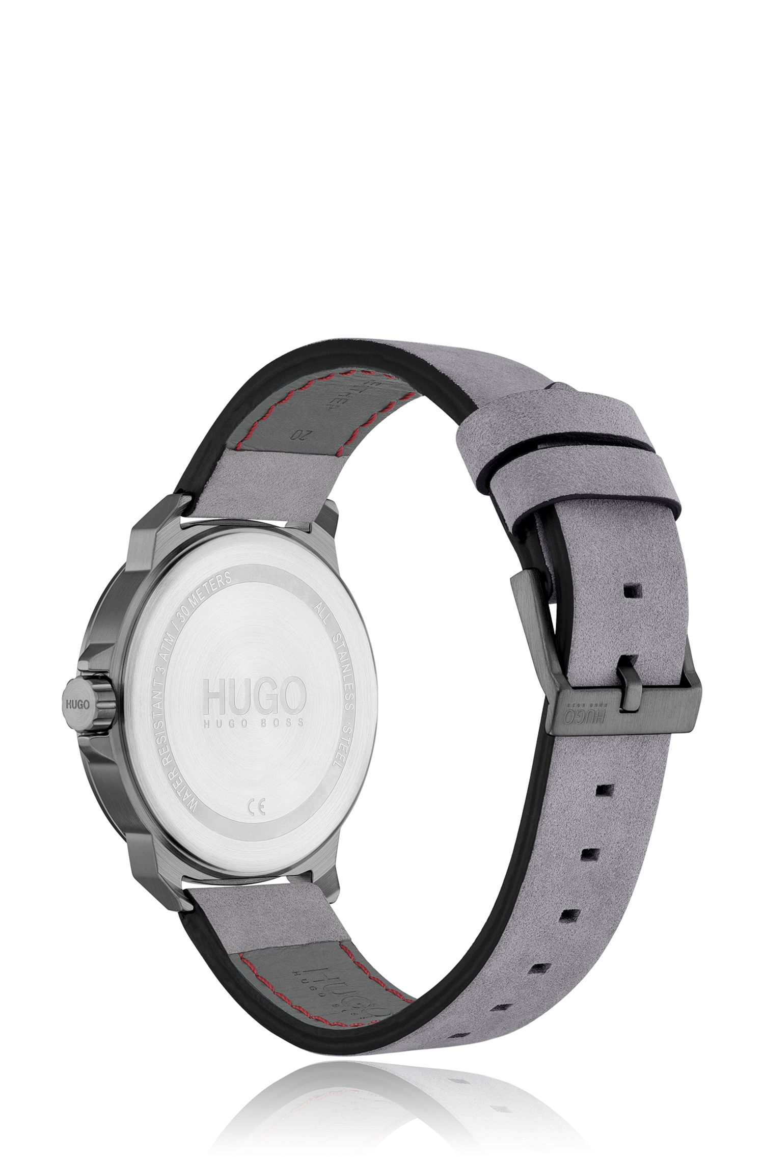 Nubuck-strap watch with brushed coffee-colour dial, Grey