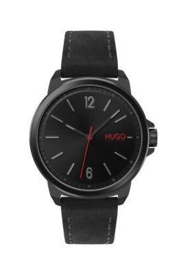 Horloge met polsband van nubuck, rode secondewijzer en zwarte coating, Zwart