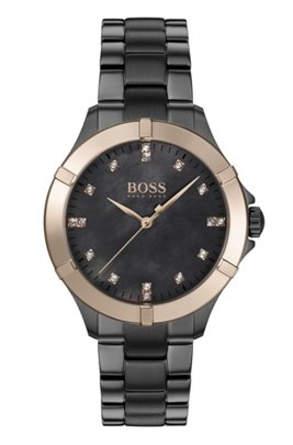 Grey-plated watch with golden bezel and crystal hour markers, Dark Grey