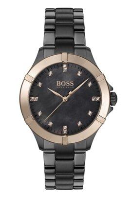 Montre en acier plaqué gris avec lunette dorée et index des heures en cristaux, Gris sombre