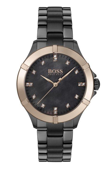Reloj chapado en gris con bisel dorado y marcadores de hora de cristal, Gris oscuro