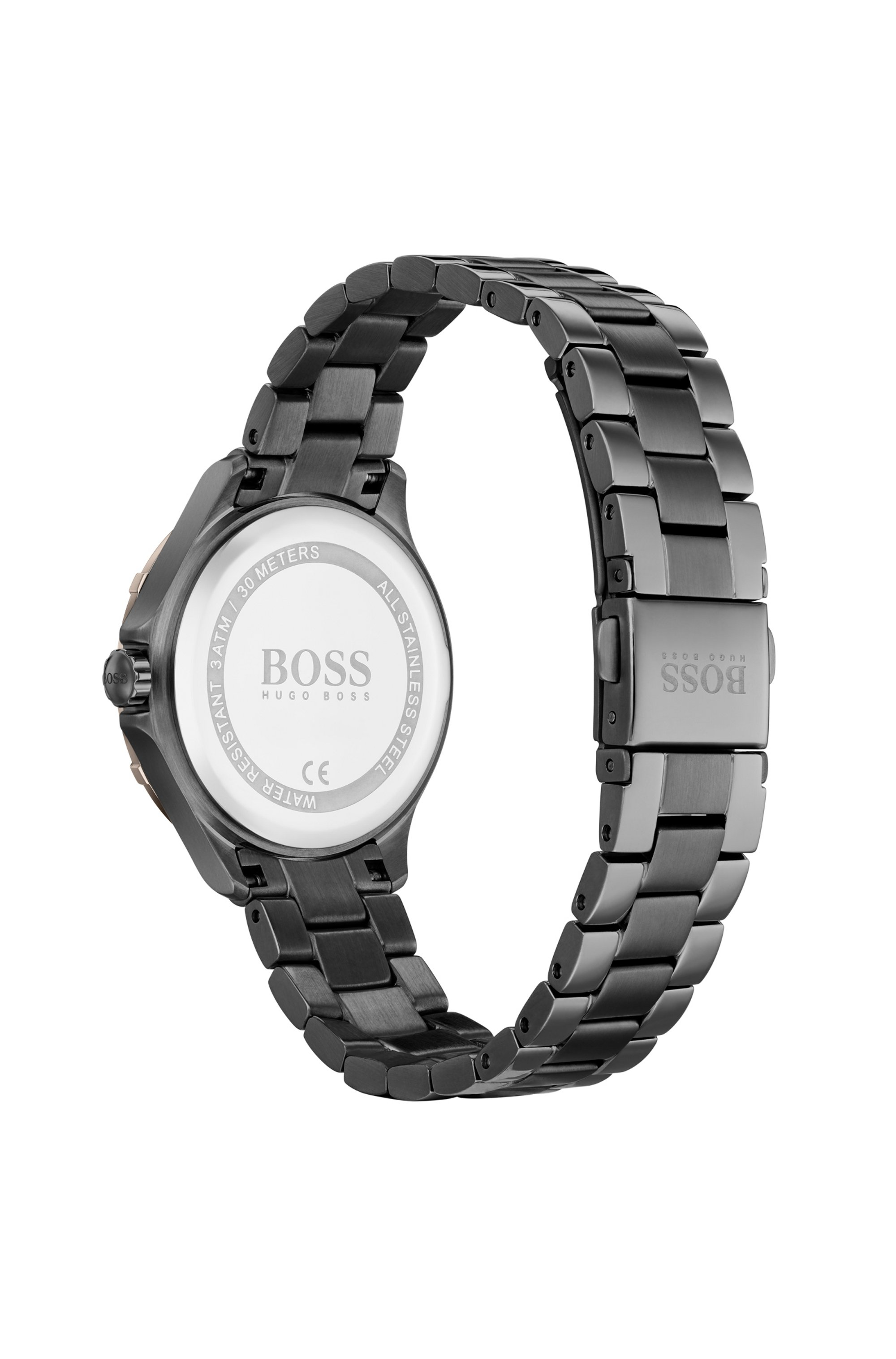 Grey-plated watch with golden bezel and crystal hour markers