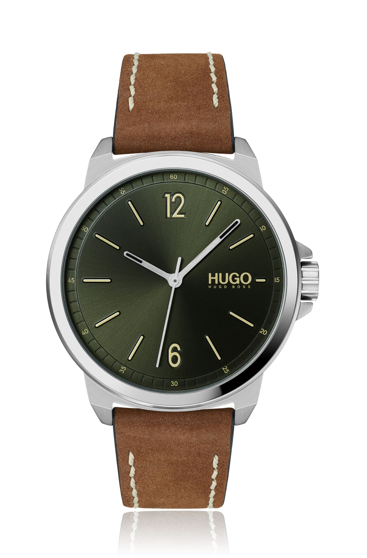 Green-dial watch with brown nubuck strap, Brown