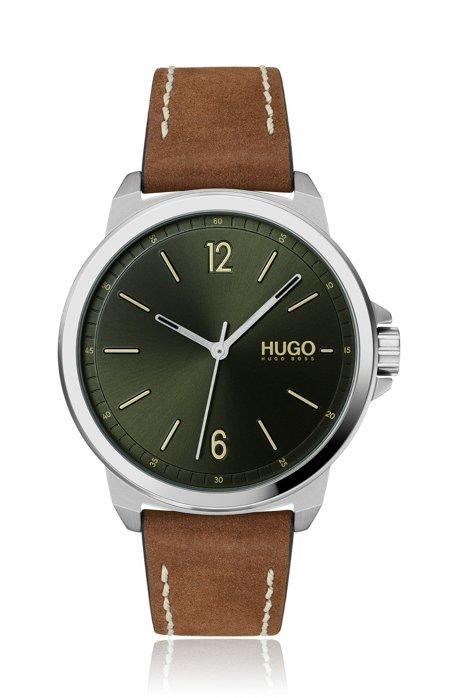 Uhr mit grünem Zifferblatt und Nubukleder-Armband, Braun