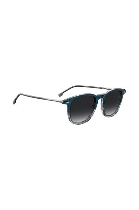 Sonnenbrille aus blauem Acetat in Horn-Optik mit schlauchförmigen Metallbügeln, Dunkelblau