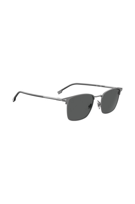 Vintage-inspired sunglasses in matte steel with tubular temples, Dark Grey