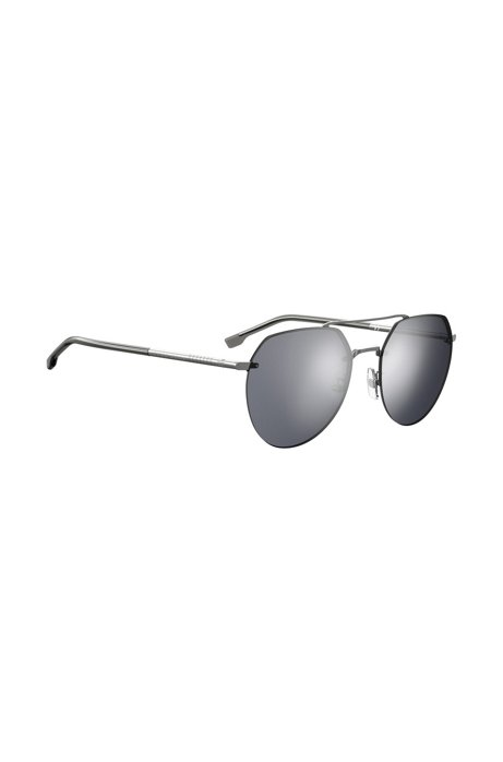 Double-bridge sunglasses in titanium with tubular temples, Silver