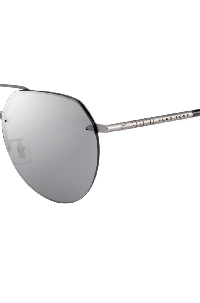 Double-bridge sunglasses in titanium with tubular temples
