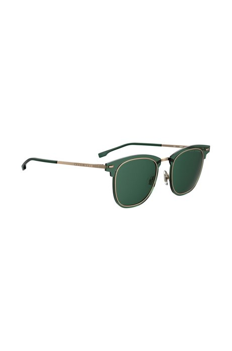 Green sunglasses with double-groove rim, Dark Green