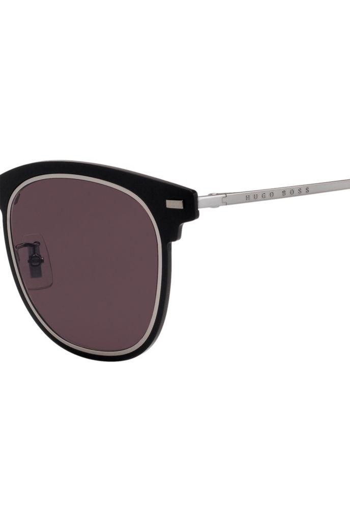 Zwarte zonnebril met dubbelgegroefde rand