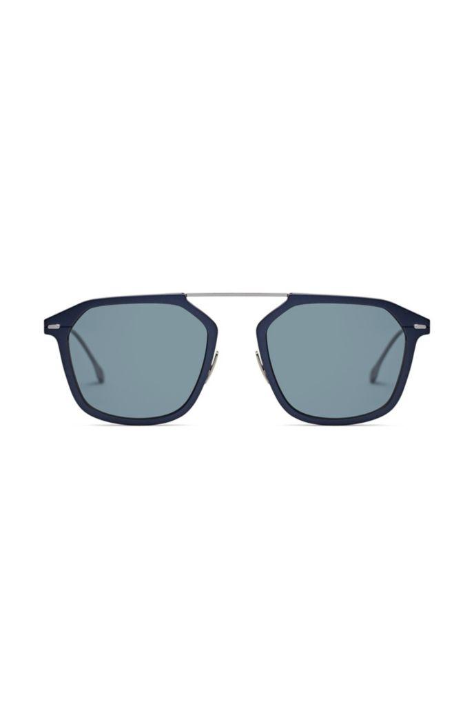 Blue-frame sunglasses with HD polarised lenses