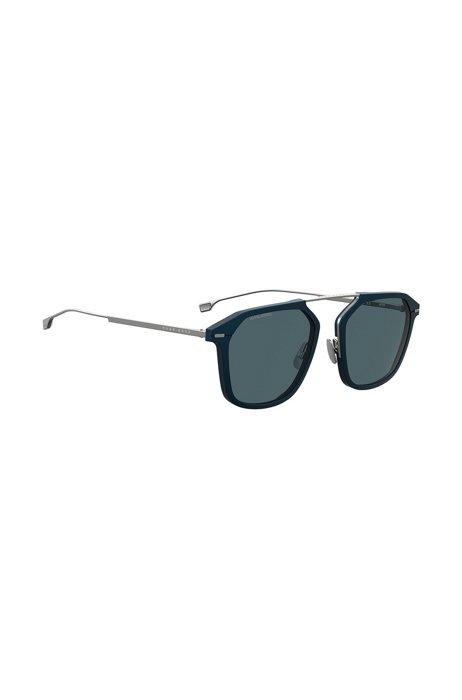 Blaue Sonnenbrille mit HD-polarisierten Gläsern, Dunkelblau