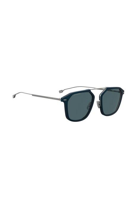 Occhiali da sole con montatura blu e lenti HD polarizzate, Blu scuro