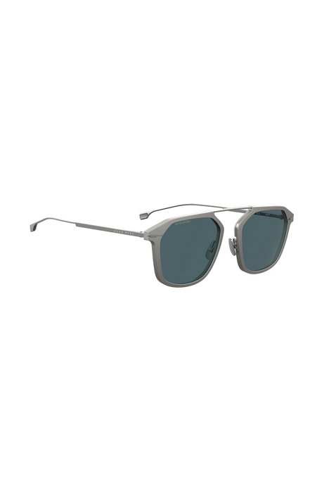 Grey-frame sunglasses with HD polarised lenses, Silver
