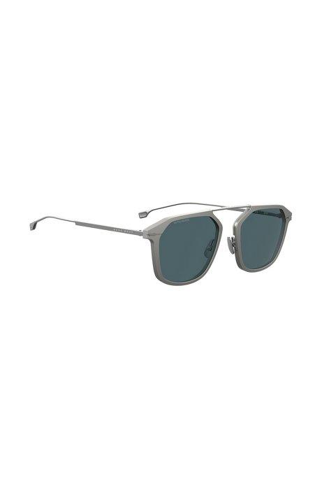 Sonnenbrille mit grauer Fassung und HD-polarisierten Gläsern, Silber