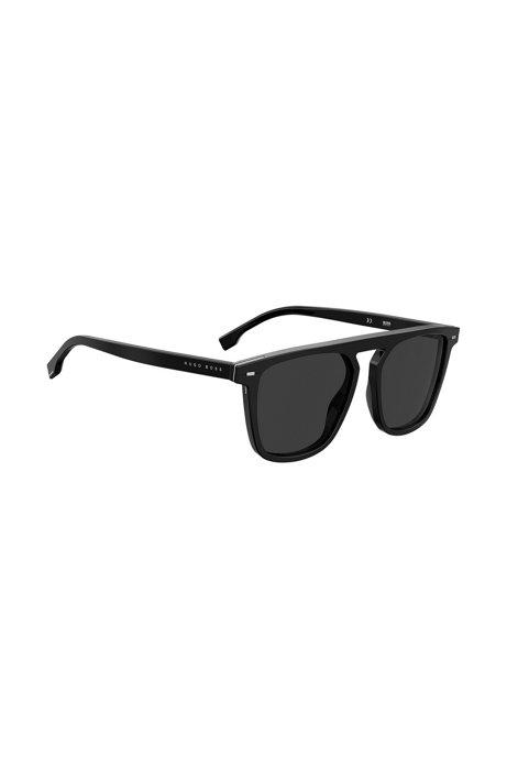 Flat-top zonnebril van zwart acetaat met hardware inzetten, Zwart