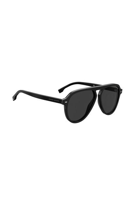Zonnebril van zwart acetaat met inzetstukken van hardware, Zwart