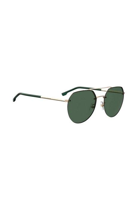 Goldfarbene Sonnenbrille mit Doppelsteg und schlauchförmigen Bügeln, Gold